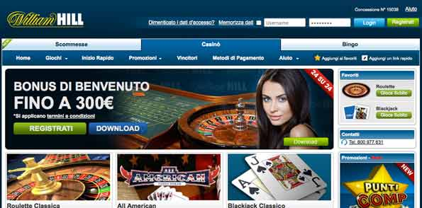 Bonus benvenuto william hill casino